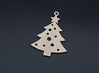 Деревянная новогодняя игрушка заготовка украшение из фанеры Ёлочка 90 мм, толщина 3 мм. Новорічна прикраса