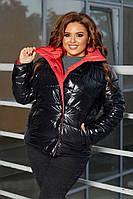 50-60 р. Женская стеганая демисезонная куртка больших размеров из блестящей плащевки