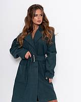 Пальто с поясом женское темно-зеленое
