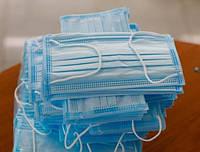 Маска медицинская трьохслойная защитная, оригинал с фиксатором, упаковки по 50 шт.