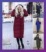 Женский зимний пуховик пальто куртка теплый черный синий зеленый бордовый 42-44 46-48 48-50