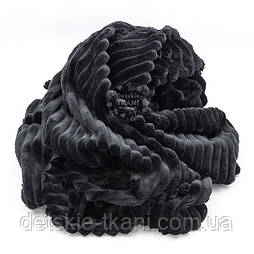 Плюш в полоску Stripes чёрного цвета