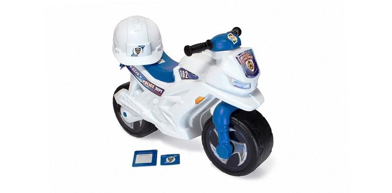Каталка Мотоцикл 2-х колесный БЕЛЫЙ с каской (501 в.2)