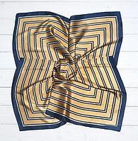Шелковый шейный платок Холли 70х70 см полоска горчичиный