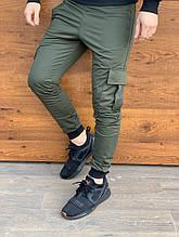 Спортивні штани карго хакі чоловічі кишеню