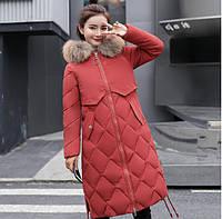 Женское пальто пуховик модные куртки зима с капюшоном, цвет темно-коралловый, размер