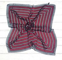 Шелковый шейный платок Холли 70х70 см полоска марсала