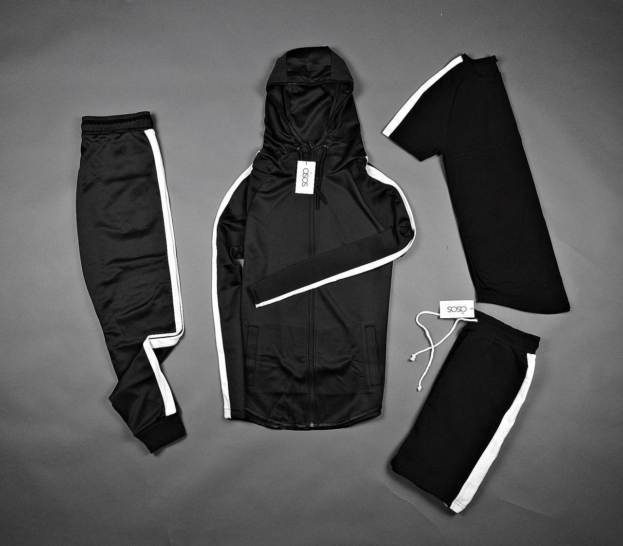 Спортивный костюм кенгуру с капюшоном комбинированный черный с лампасом + футболка и шорты