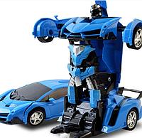 Машинка Трансформер Lamborghini Police Robot Car Size 18 Синяя