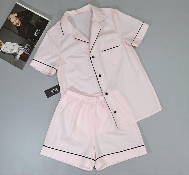 Пижама женская рубашка и шорты Este хлопковая розовая.