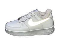 """Зимние кожаные мужские/женские кроссовки с мехом Nike Air Force """"Белые""""  рефлектив р. 36-45, фото 1"""