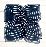 Шелковый шейный платок Холли 70х70 см полоска индиго