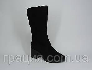 Чоботи зимові жіночі замшеві на повну ногу