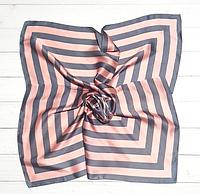 Шелковый шейный платок Холли 70х70 см полоска пудра/серый