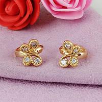 Серьги детские колечки Xuping Jewelry Бабочки медицинское золото позолота 18К А/В 1-0254