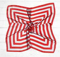Шелковый шейный платок Холли 70х70 см полоска красный