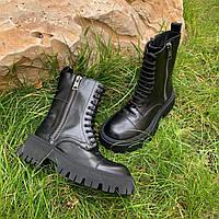 Кожаные ботинки BALENCIAGA утеплитель байка (реплика), фото 1