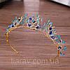 Тиара с голубыми камнями, диадема БЭЛЬ, диадема с синими камнями, фото 4