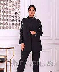Женский черный пиджак с пайетками батал