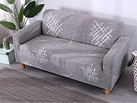 Чехол натяжной на трехместный диван без оборки с рисунком Серый классика HomyTex