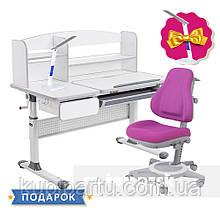 Комплект парта для школьников Cubby Rimu Grey + детское универсальное кресло FunDesk Bravo Purple