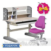 Комплект для підлітка парта-трансформер Fundesk Amico Grey + ортопедичне крісло FunDesk Bravo Purple