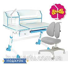Комплект для школяра парта FunDesk Amare II Blue + крісло для дому FunDesk Bello II Grey