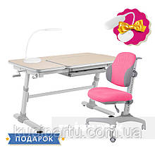 Комплект для дівчинки стіл-трансформер FunDesk Invito Grey + ергономічне крісло FunDesk Inizio Pink