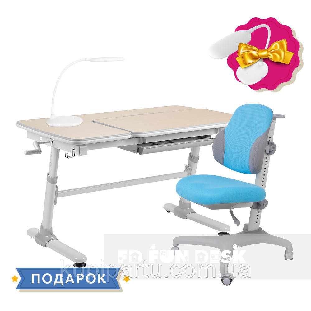 Комплект для хлопчика стіл-трансформер FunDesk Invito Grey + ергономічне крісло FunDesk Inizio Blue
