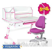 Комплект для дівчинки 👧 парта Amare II Pink з висувним ящиком + крісло FunDesk Bravo Purple