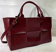 722 Натуральная кожа Женская сумка кожаная бордовая формат А4 плетеная Сумка из натуральной кожи большая 2020