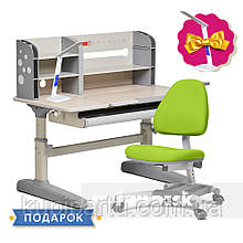 Комплект школяра 👨🏫 парта-трансформер Fundesk Amico Grey + підліткове крісло FunDesk Ottimo Green