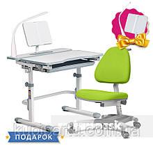 Комплект для школяра зростаюча парта Cubby Fressia Grey + крісло для дому FunDesk Ottimo Green