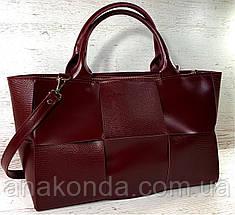 722 Натуральная кожа Женская сумка кожаная бордовая формат А4 плетеная Сумка из натуральной кожи большая 2020, фото 2