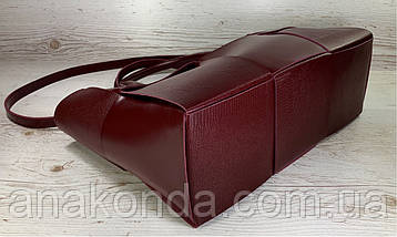 722 Натуральная кожа Женская сумка кожаная бордовая формат А4 плетеная Сумка из натуральной кожи большая 2020, фото 3