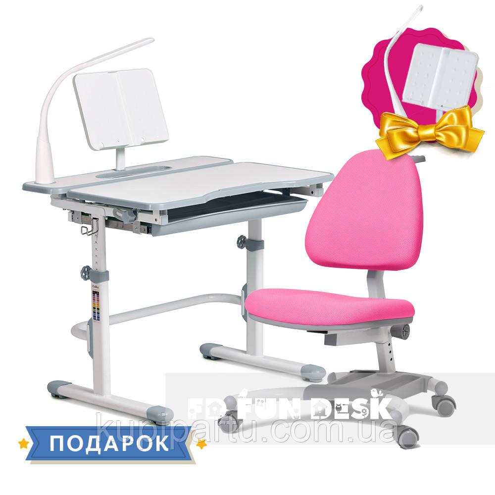 Комплект для девочки растущая парта Cubby Fressia Grey + кресло для дома FunDesk Ottimo Pink