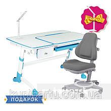 Комплект дитяча парта для школяра FunDesk Amare Blue +універсальне крісло FunDesk Bravo Grey