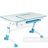 Комплект растущая парта FunDesk Amare Blue с выдвижным ящиком + кресло для подростков FunDesk Contento Grey, фото 2