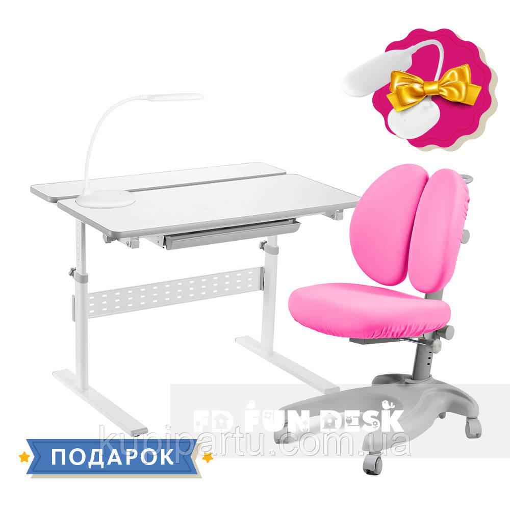Комплект для школяра 👨🏫 парта-трансформер Fundesk Colore Grey + ергономічне крісло FunDesk Solerte Pink
