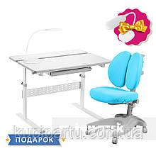 Комплект для школяра 👨🏫 парта-трансформер Fundesk Colore Grey + ергономічне крісло FunDesk Solerte Blue