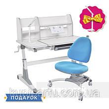 Комплект для школярів парта Fundesk Magico Grey + ортопедичне крісло FunDesk SST4 Blue