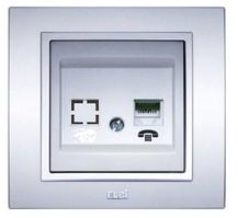 Розетка телефонная модуль серебряная EL-BI Zena
