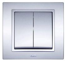 Выключатель 2-ой модуль серебряный EL-BI Zena