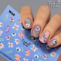 Слайдер-дизайн ЦВЕТЫ Наклейки на Ногти для Маникюра Пионы - водные наклейки для ногтей Fashion nails W60