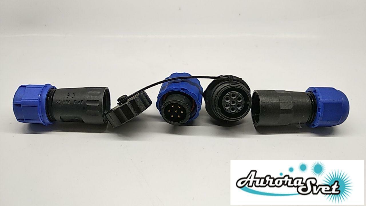 Роз'єм водонепроникний 10А ip68 md 20 7-ми контактний.Герметичний роз'єм кабелю ДО 380 В
