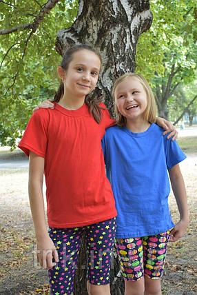 Футболка голубая для девочек бейка средняя, фото 2