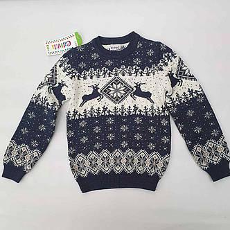 Вязаный свитер детский с оленями на мальчиков 116, 122 роста Синий, фото 2