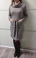 Платье женское теплое серого цвета ангора Irma Stile Размер 42-44