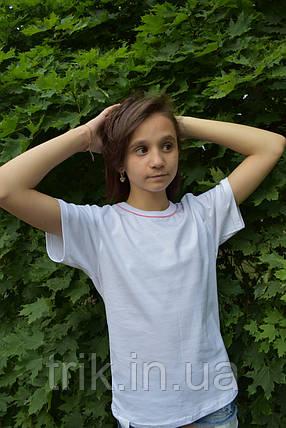 Детские белые футболки с розовым кантиком, фото 2