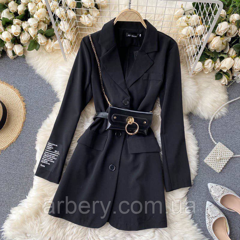Шикарное стильное платье-пиджак с сумочкой